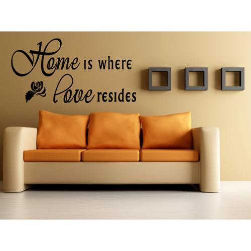 Stickalz llc Home Is Where Love Resides quote Flower Rose Wall Art Sticker Decal