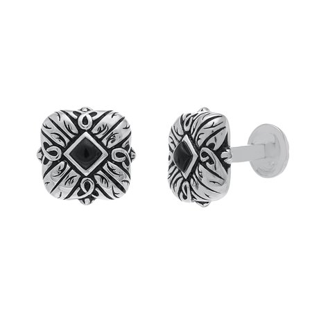 Sterling Silver Oxidite with Diamond Design Cufflinks