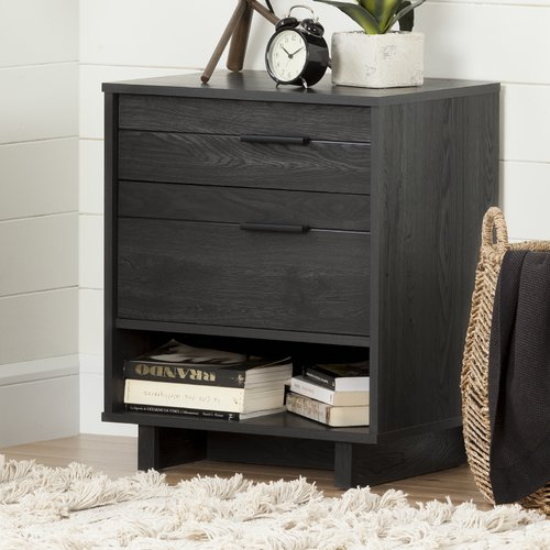 South Shore Fynn Nightstand with Drawers and Cord Catcher, Multiple Finishes
