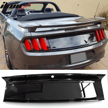 Extended Rear Panel (Fits 15-18 Mustang Rear Trunk Decklid Cover Panel - Glossy Black ABS )