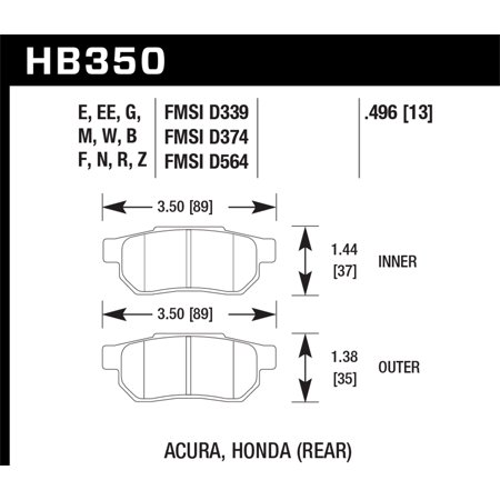 Hawk 90-01 Acura Integra (excl Type R) / 98-00 Civic Coupe Si HP+ Street Rear Brake Pads