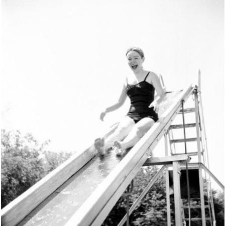 - Girl on water slide in park Canvas Art -  (18 x 24)