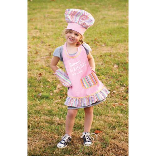 """3-Piece """"Queen"""" Royal Pink Embroidered Girl's Chef Apron, Hat and Pot Holder Set"""
