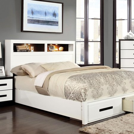 Contemporary Wood King Storage bed in White,Black Rutger by Furniture of (American Outlet Stores Online)