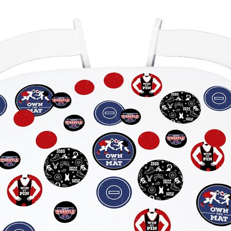 Own The Mat - Wrestling - Birthday Party Giant Circle Confetti - Wrestler Party Decorations - Large Confetti 27 Count