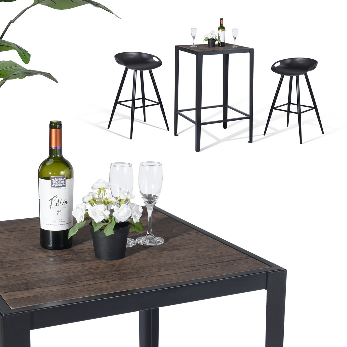 furniturer square wood top bar table counter table
