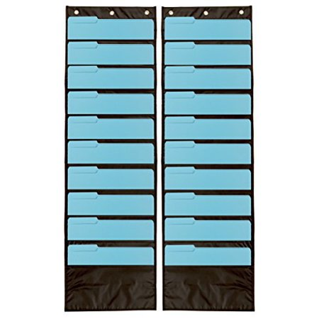 Pack Of 2 Premium Wall Storage Pocket Charts   Organizers  Black    Perfect For Classroom  School  Office Or Home