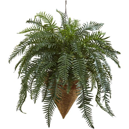 Nearly Natural Giant River Fern with Cone Hanging (Hanging Cone Natural)