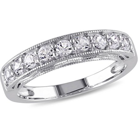 4/5 Carat T.G.W. Created White Sapphire Sterling Silver Semi-Eternity Anniversary Ring