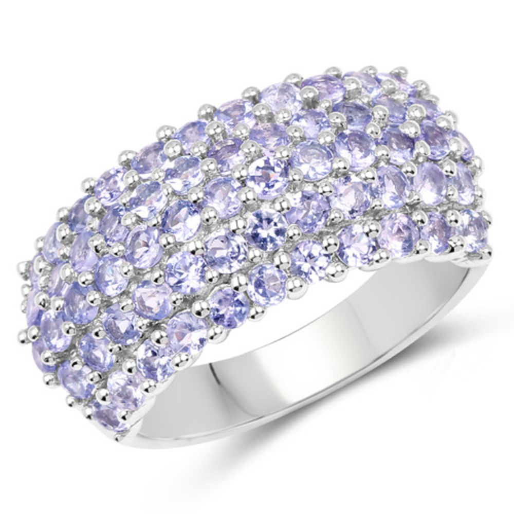 Genuine Round Tanzanite Ring in Sterling Silver Size 6.00 by Bonyak Jewelry