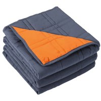 Reversible Weighted Blanket (12 lbs, 48 x 72 Inches), Cool Heavy Blanket of Breathable Microfiber Fabric with Small Pockets for Odorless Glass Beads, Bed Sofa Use Without Cover (Blue, Orange)