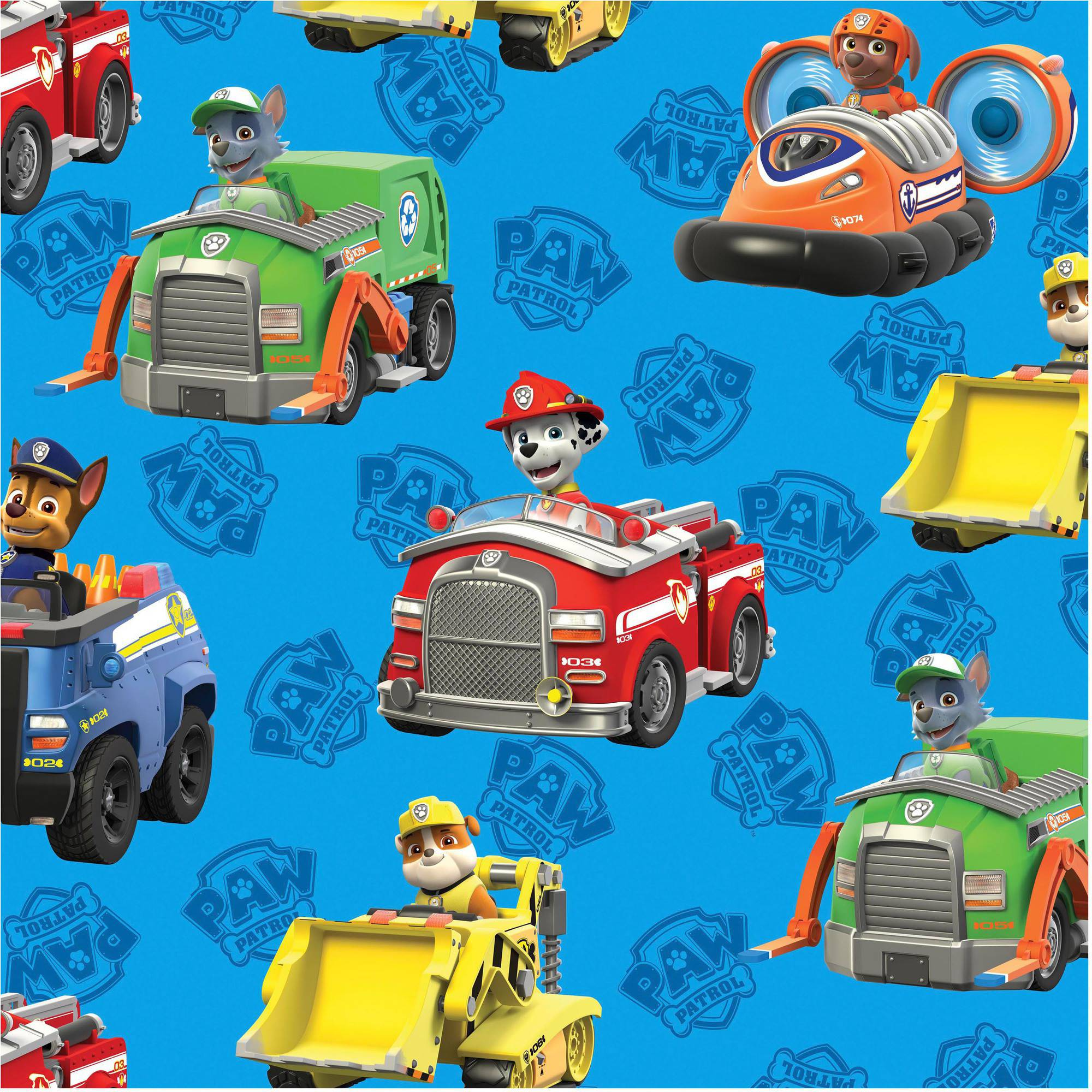 "David Textiles Paw Patrol Rescue Car 44"" Cotton Fabric By The Yard"