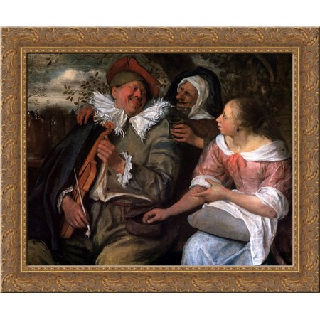 Robbed Violin Player 24X20 Gold Ornate Wood Framed Canvas Art By Jan Steen