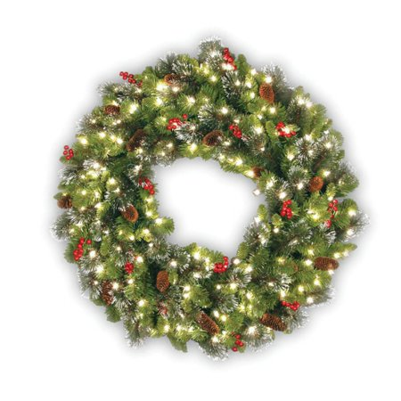 24 in. Crestwood Spruce Wreath - Clear Lights](Umbrella Wreath)