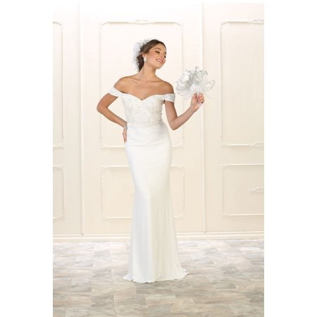 MQ - Long Simple Wedding Dress Plus Size Bridal Gown ...