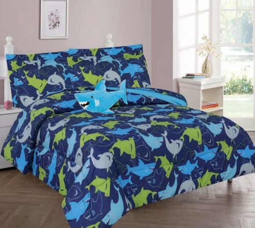 8-PC FULL SHARK  BLUE Complete Bed In A Bag Comforter Bedding Set With Furry Friend and Matching Sheet Set for Kids