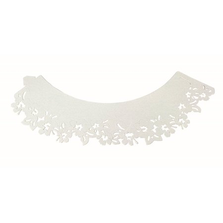 Lace Cupcake Liners (PME CW911 White Flowers Decorative Lace Cupcake Wrappers, Pack of)