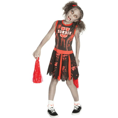 Undead Cheerleader Girls Child Halloween Costume - Cowboys Cheerleader Costume Halloween