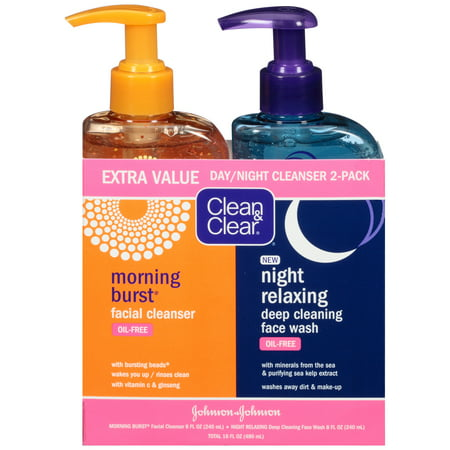 Oil Free Face Cleanser (Clean & Clear 2-Pack Day & Night Face Wash, Oil-Free & Hypoallergenic )
