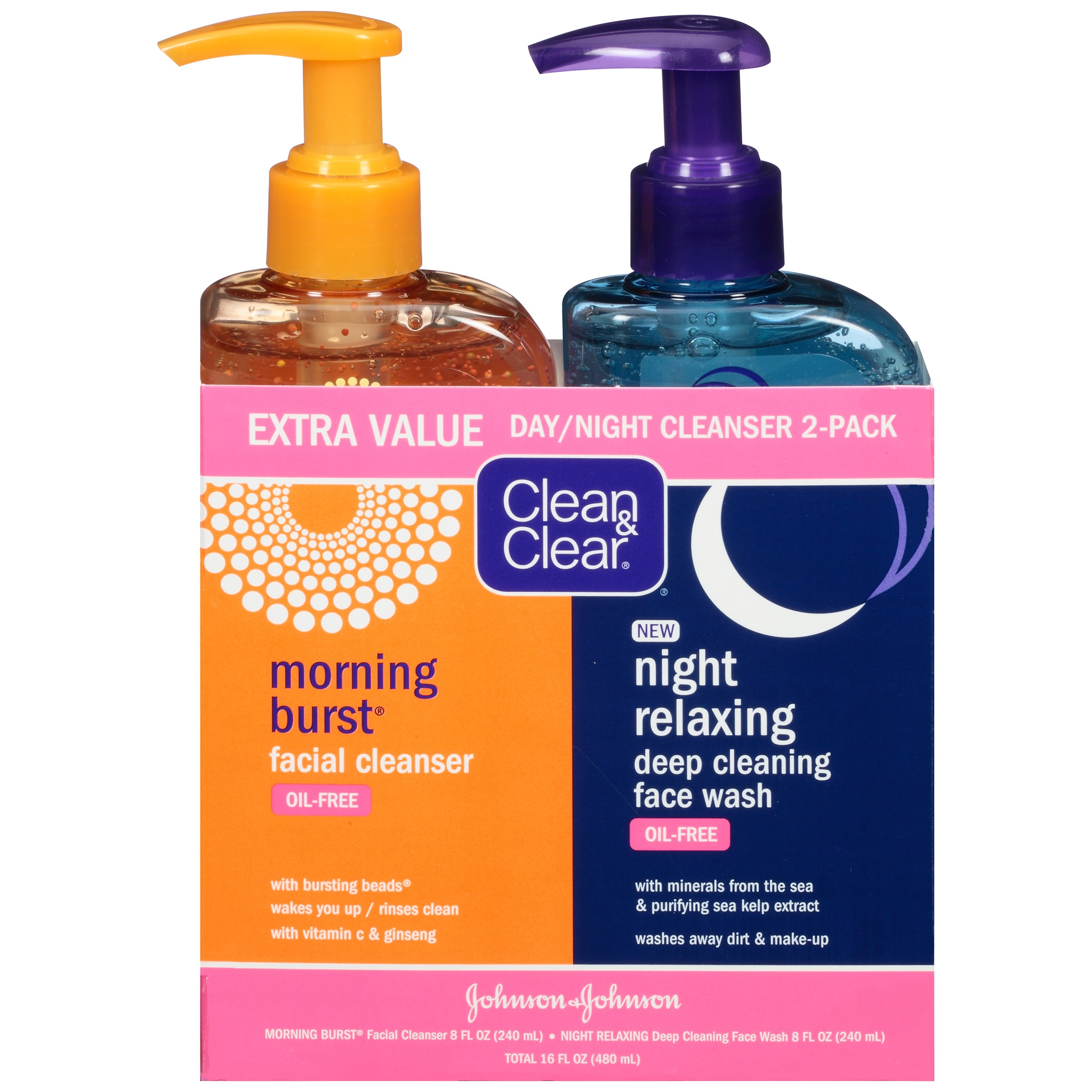 Clean & Clear 2-Pack Day & Night Face Wash, Oil-Free & Hypoallergenic