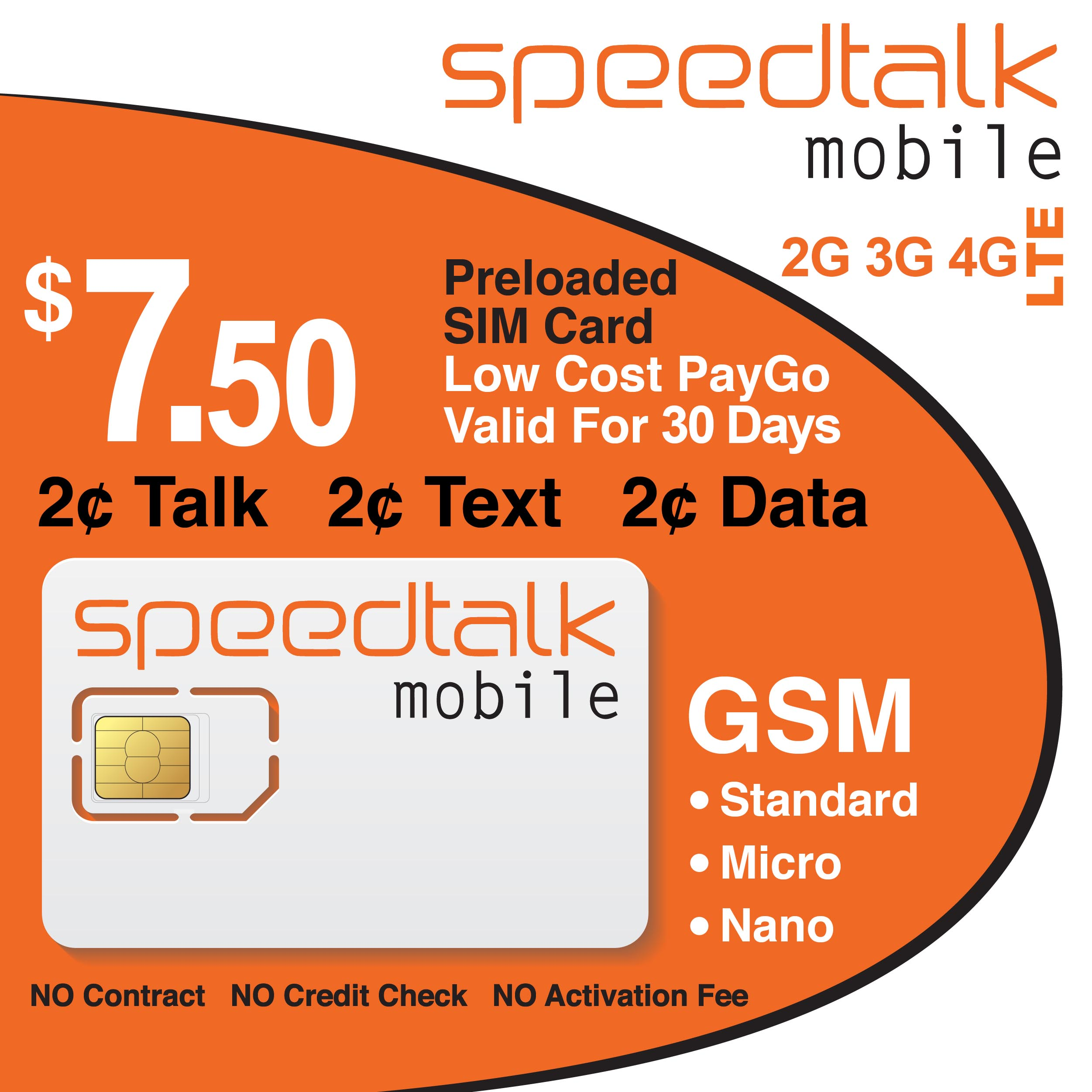SpeedTalk Mobile 3-in-1 SIM Card $7.50 Preloaded No Contract