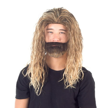 Adult Deluxe Ocean King Long Hair Wig and Beard Costume Cosplay Accessory (King Wig)