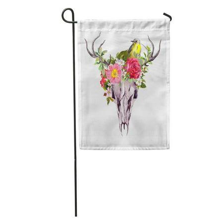 JSDART Head Deer Skull Flowers and Bird Watercolor Sketch Sugar Garden Flag Decorative Flag House Banner 12x18 inch - image 1 of 2