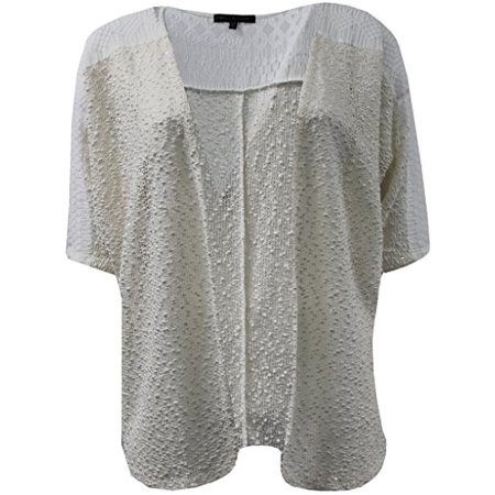 Plus Size Women's Sleeveless Open Front Cardigan Knit Vest Top Sweater Ivory 1X (Plus Size Sweater Vests)