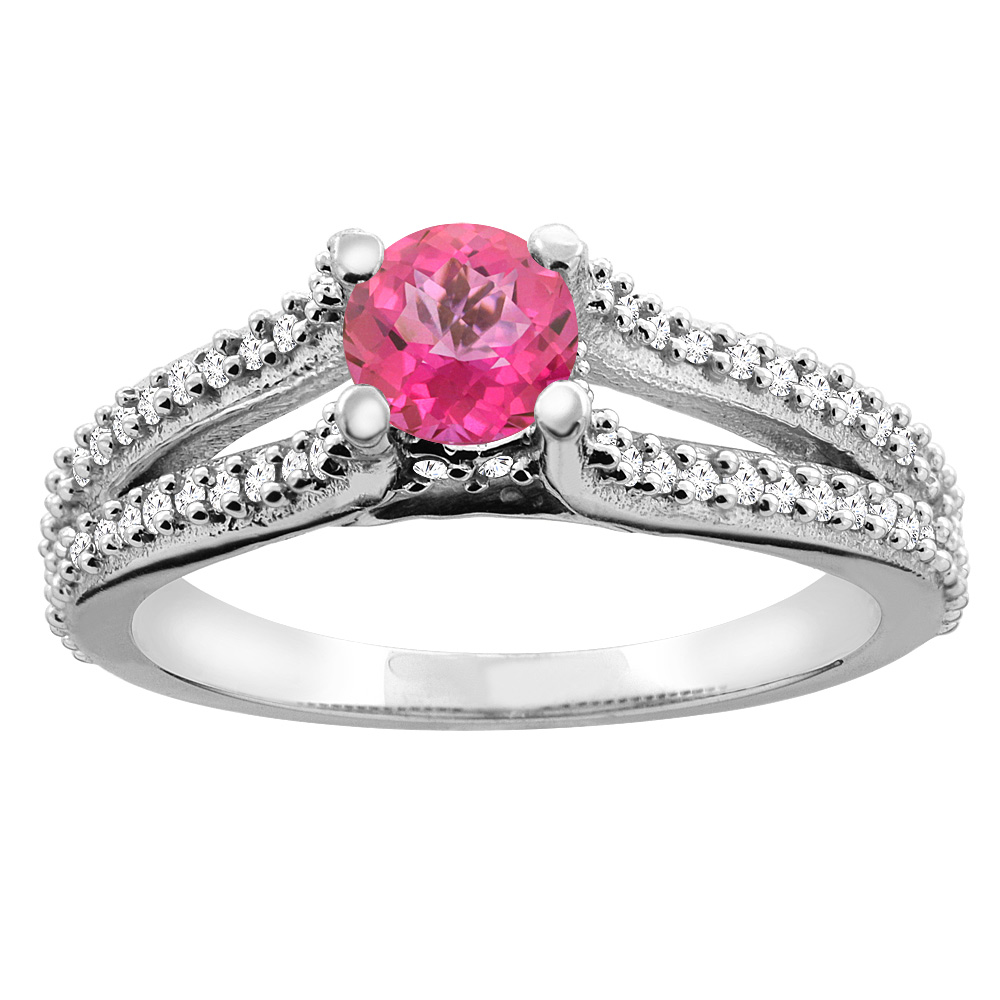 14K White Gold Natural Pink Topaz Engagement Split Shank Ring Round 5mm Diamond Accents, size 5 by Gabriella Gold