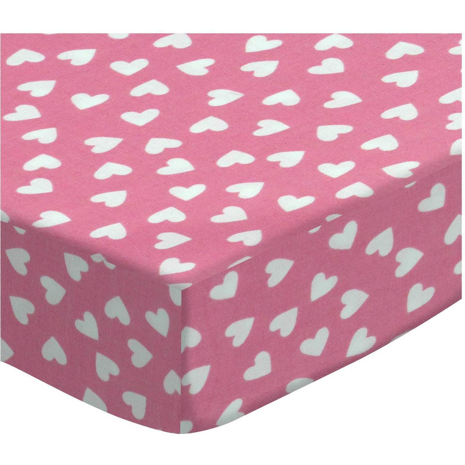 SheetWorld Fitted Portable / Mini Crib Sheet - Primary Hearts White On Pink Woven