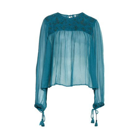 Free People Womens Retro Femme Knit Blouse (Femme Fatale Outfits)