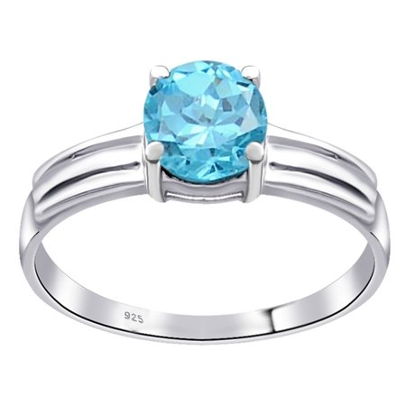 Orchid Jewelry 1.05 Carat Genuine Blue Topaz Sterling Silver Solitaire Ring Size -7 Blue Topaz Color Solitaire