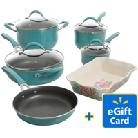 FREE $10 Walmart Gift Card with 10-Piece The Pioneer Woman Frontier Speckle Cookware Set, with Ceramic Baker