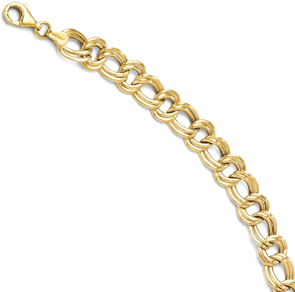 ICE CARATS 14kt Yellow Gold Link Bracelet 8 Inch Chain Fancy Fine Jewelry Ideal Gifts For Women Gift Set From Heart by IceCarats Designer Jewelry Gift USA
