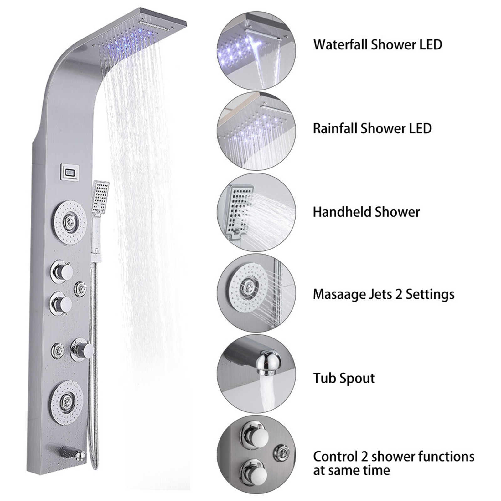 Brushed Nickel Wall Mounted VAHIGCY Shower Panel Tower System Stainless Steel LED Rainfall Waterfall Shower Head 6-Function Faucet Rain Massage System with Body Jets