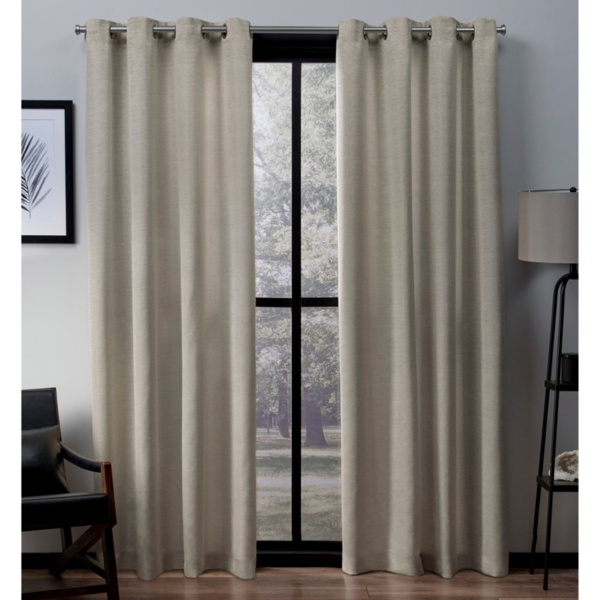 Exclusive Home Virenze Faux Silk Window Curtain Panel Pair with Grommet Top