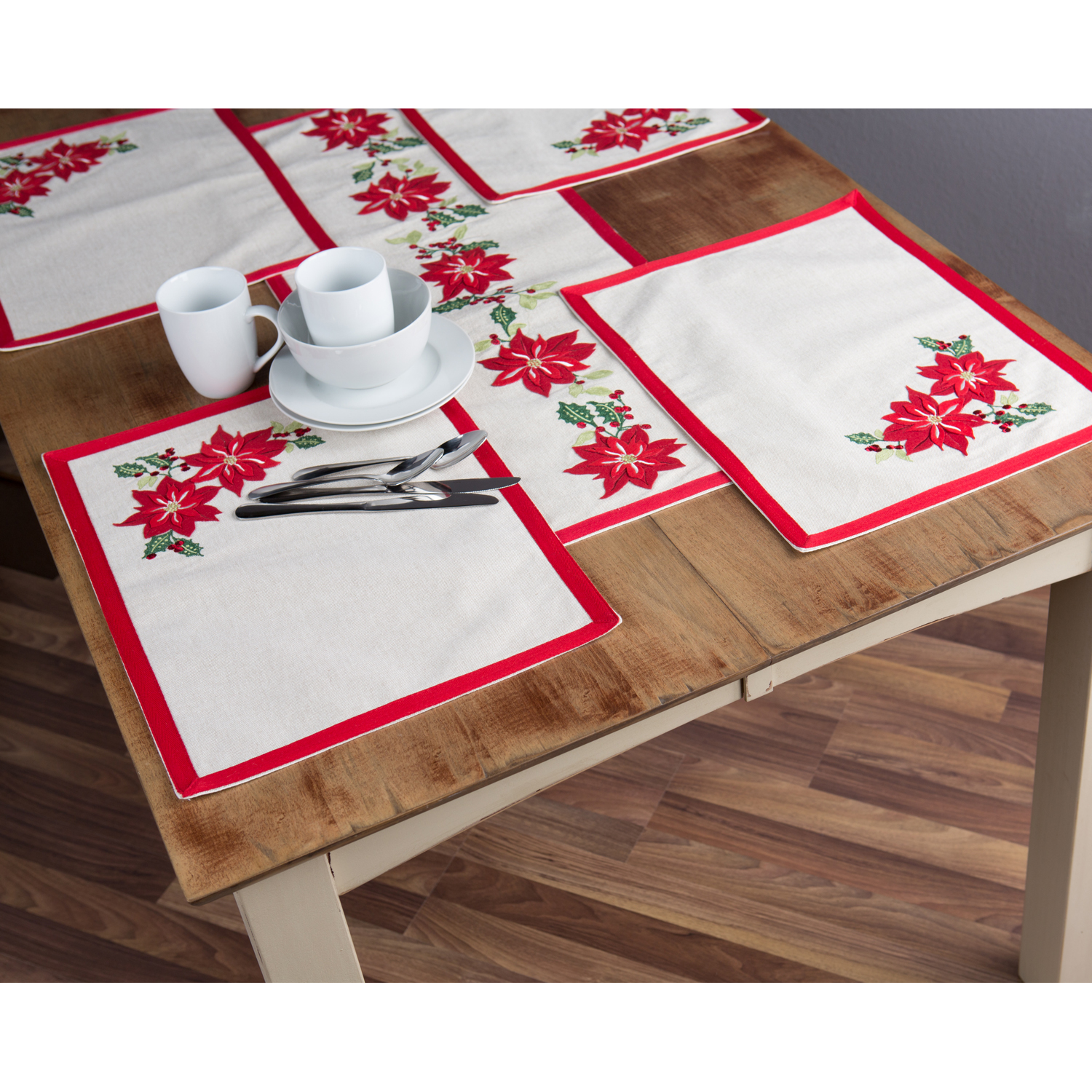 Better Homes U0026 Gardens 5 Piece Holiday Placemat And Table Runner Set,  Poinsettia Embroidery,