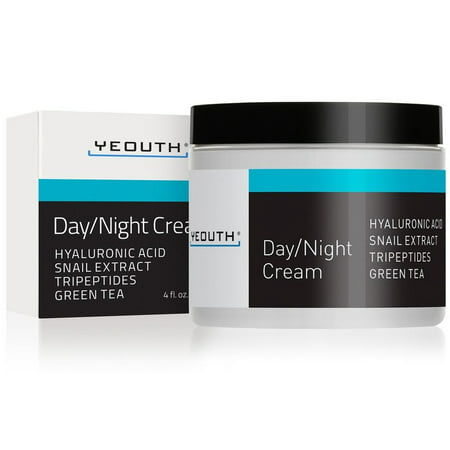 YEOUTH Day Night Moisturizer for Face with Snail Extract, Hyaluronic Acid, Green Tea, and Peptides, Anti Aging Day Cream or Night Cream Moisturizer for Dry Skin, 4 oz - GUARANTEED Skin Day Cream