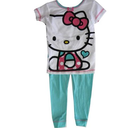 d291a8598 Hello Kitty - Little Girls Blue White Kitty Print Short Sleeved 2 Pc ...