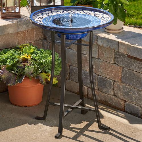 Smart Solar Mosaic Ceramic Solar Birdbath Fountain with Metal Stand