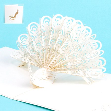 Mosunx 3D Pop Up Peacock Cards Wedding Lover Happy Birthday Anniversary Greeting Card