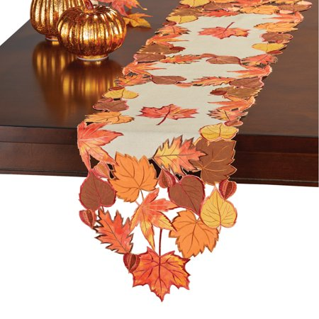 Autumn Leaves Table Runner (collections etc fall leaves applique table runner/topper, beige,)
