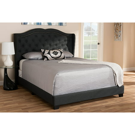 Baxton Studio Aden Modern and Contemporary Charcoal Grey Fabric Upholstered Queen Size Bed ()