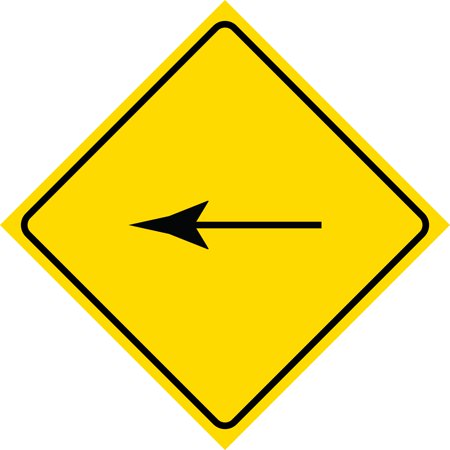 Yellow Diamond Notice Left Ahead Arow Sign Commercial Plastic Square Sign, 12x12 Ahead Yellow Sign