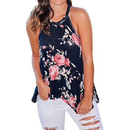 Nlife Women Floral Printed Asymmetric Hem Sleeveless Tank (Printed Georgette Sleeveless Top)