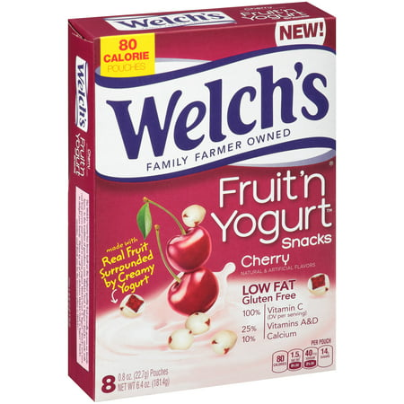 (4 Pack) Welch's Fruit 'n Yogurt Snacks Cherry Pouches - 8 (Best Yogurt Brand In India)