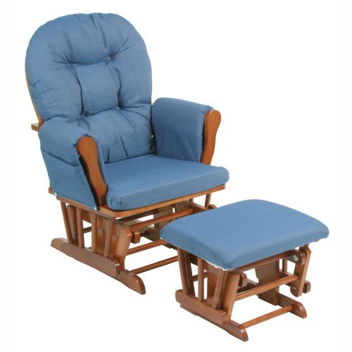 Storkcraft - Bowback Glider Rocker and Ottoman Cognac Finish, Denim Blue Cushions