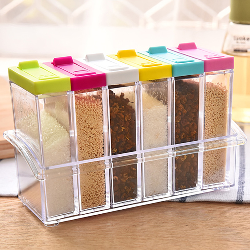 Jeobest Spice Storage Container - Spice Jars - 6PCS Spice Shaker Seasoning Box Jar Plastic Condiment Transparent Storage Container with Tray (sent randomly) MZ