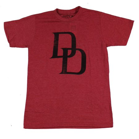 Simple Classic T-shirt - Daredevil (Marvel Comics) Mens T-Shirt - Simple Distressed Classic DD Logo Image
