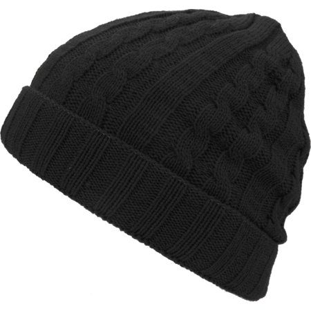 (Solid Cable Knit Beanie Cuffed Style Skully Winter Ski Hat Cap)